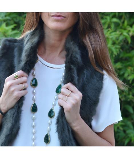 Collar Perlas Largo Piedras Esmeralda