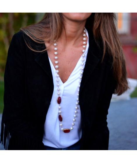 Collar Perlas Largo Piedras Buganvilla