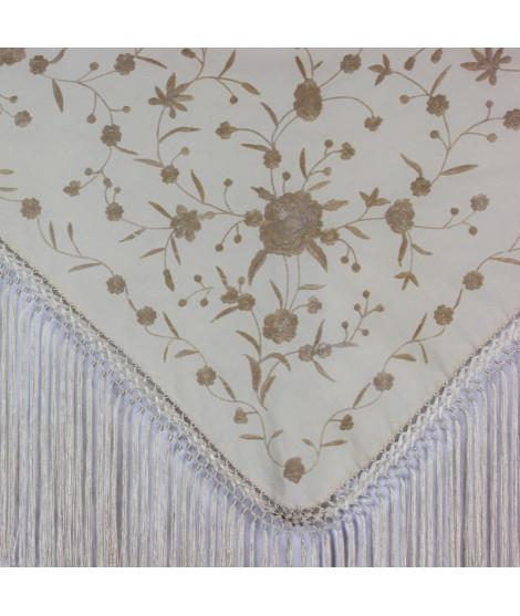 Mantón algodón beis bordado flores