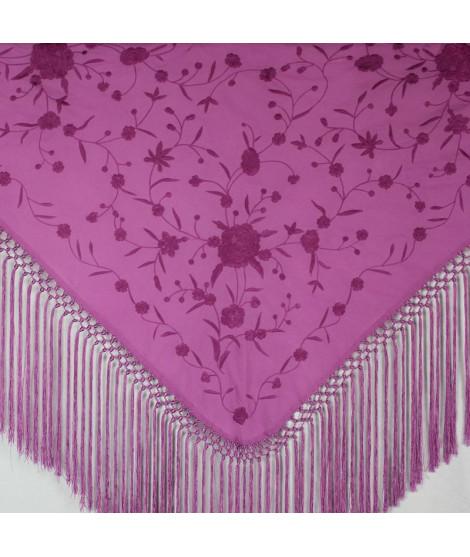 Mantón algodón buganvilla claro bordado flores