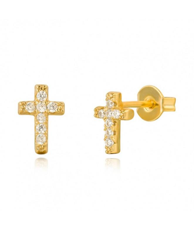 Pendientes Circonita Cruz Oro