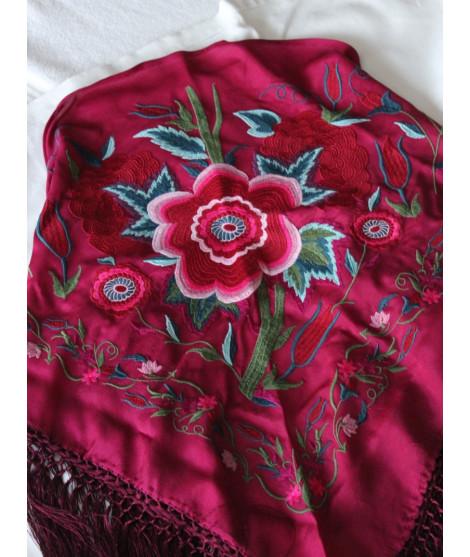 Mantón Flor Grande Burdeos