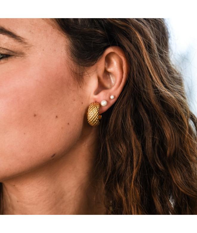 Pendientes Perlita Rosca Oro
